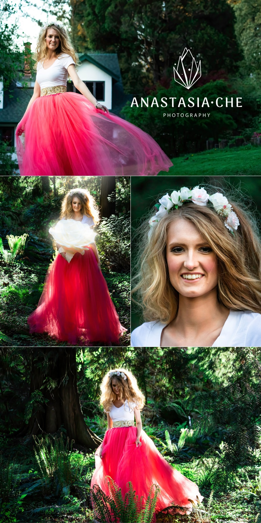 fairy tale photoshoot with a pink maxi skirt