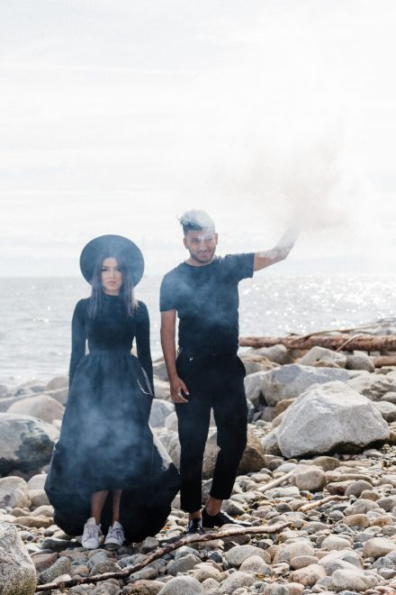 Edgy couple's photo with a smoke bomb