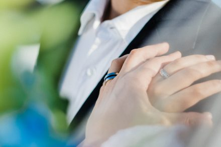 Close-up of bride and groom wedding rings on hands
