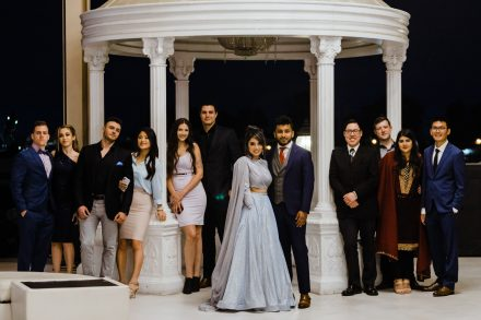 Group photo of bride's and groom's parties