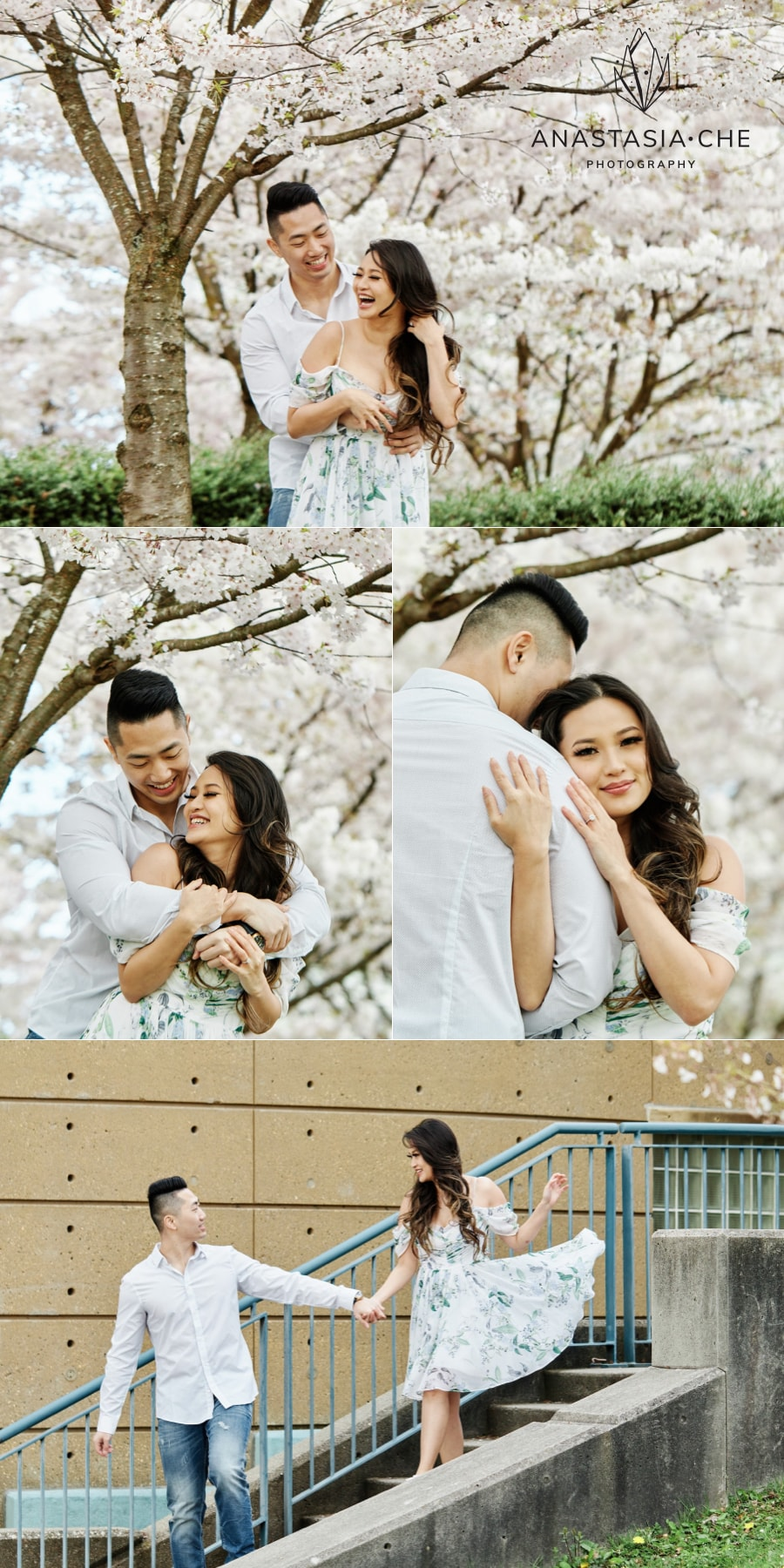 Cherry blossoms engagement photos in Vancouver