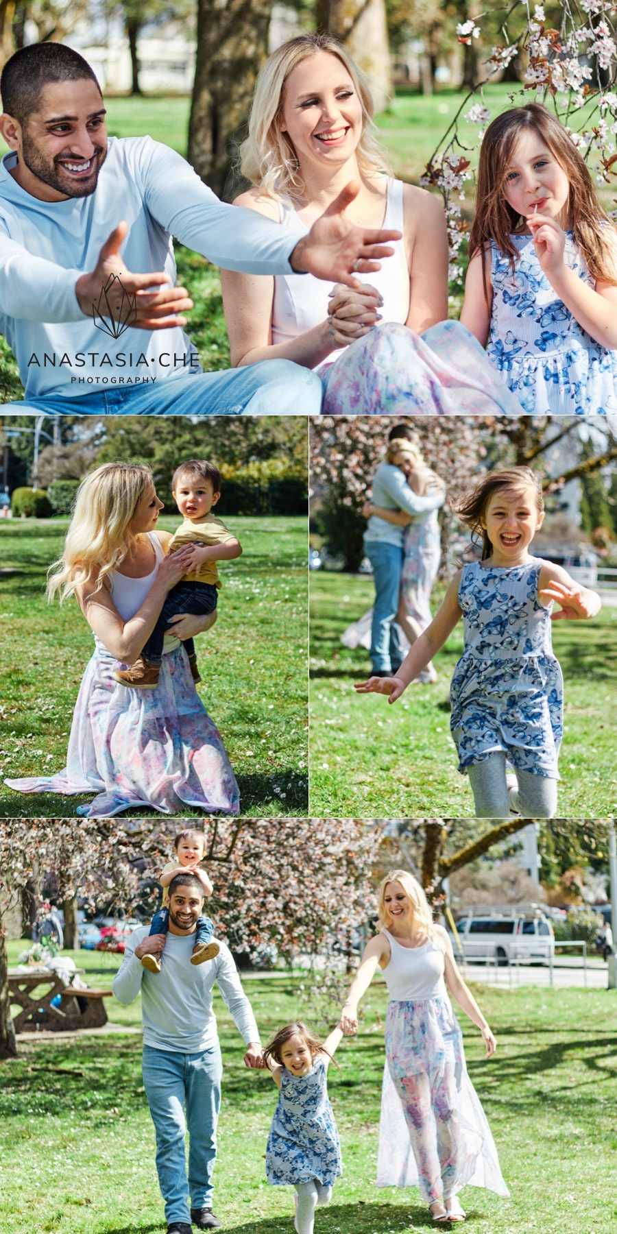 Family spring blossoms photo session in New Westminster