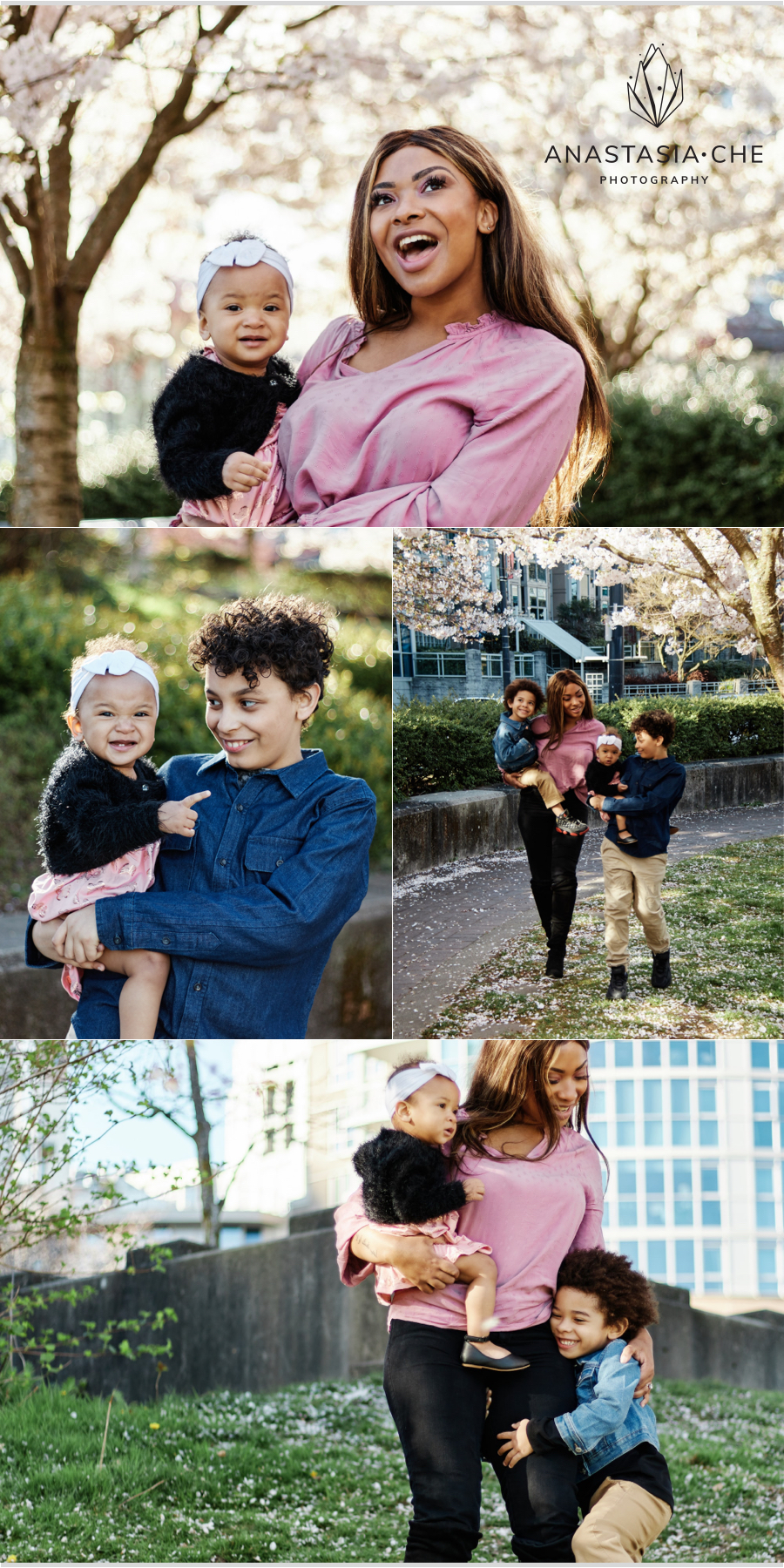 Family spring blossoms photo session in David Lam Park, Vancouver